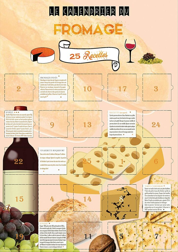 Contents: Cheese Advent Calendar 2020 in French