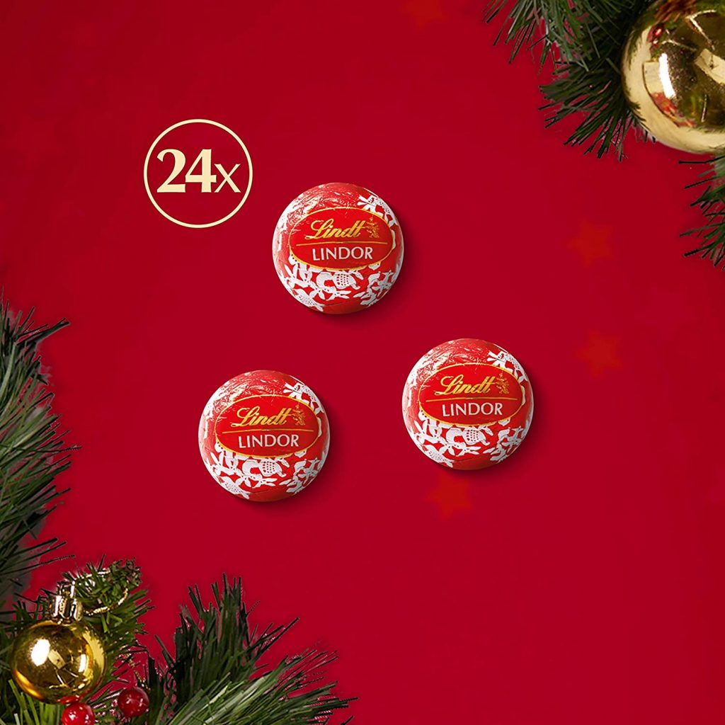 Contents: Lindt LINDOR Milk Chocolate Lovers Mini Desktop Advent Calendar