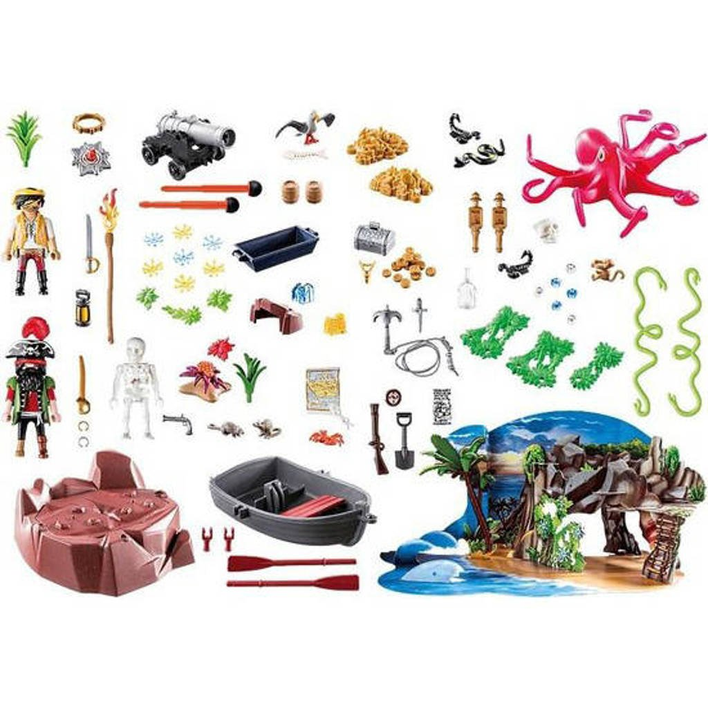 Contents: Playmobil 70322 Pirates Advent Calendar with Cannon and Treasure 2020