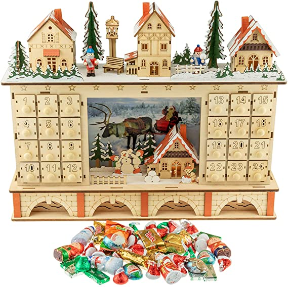 Contants: Clever Creations Traditional LED Wooden Advent Calendar