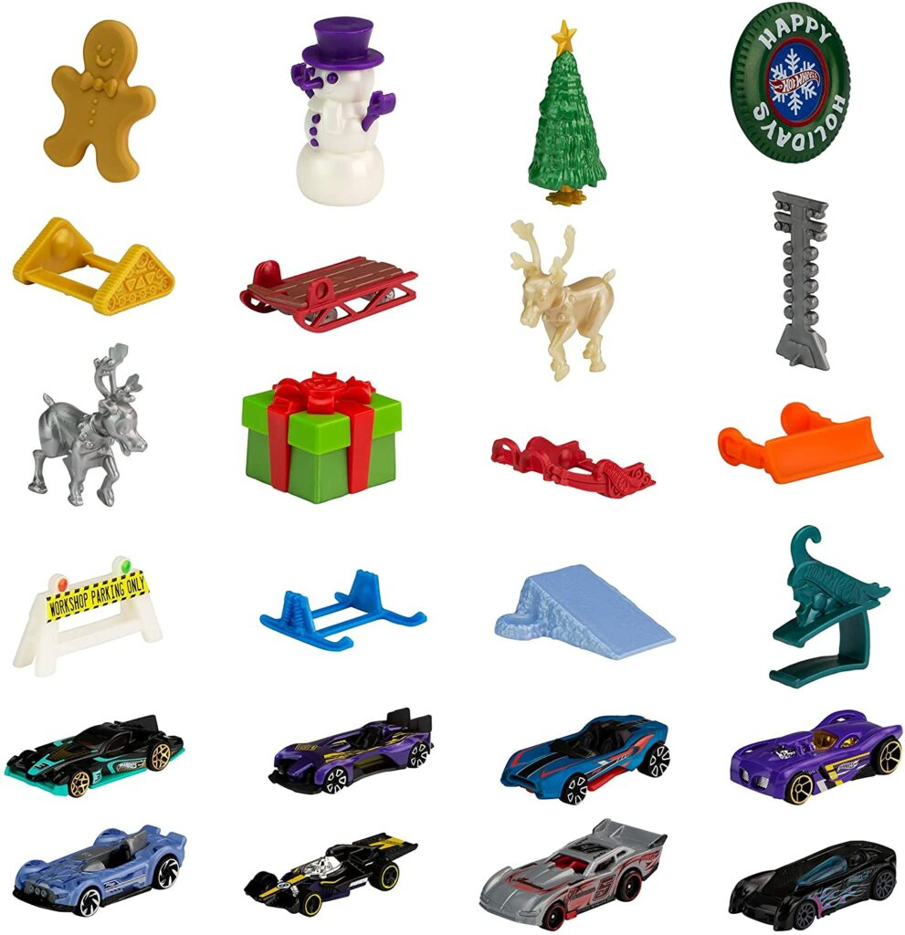 Content: Hot Wheels 2021 Advent Calendar with 24 Surprises that Include 8 1:64 Scale Vehicles & Other Cool Accessories