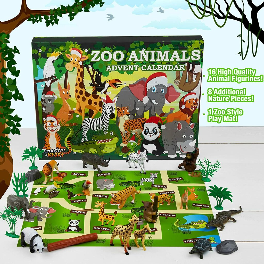 Content: KreativeKraft Zoo Animals Advent Calendar 2021 with 24 high quality animal figures