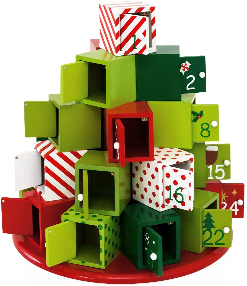 Content: Traditional Wooden Christmas Advent Calendar